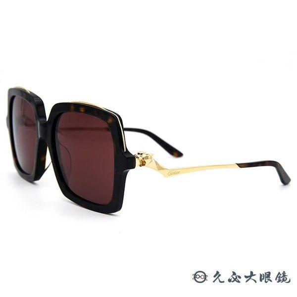 Cartier 卡地亞 太陽眼鏡 雕刻美洲豹 大方框 墨鏡 CT0117SA 002 玳瑁金 久必大眼鏡