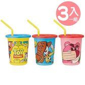 〔小禮堂〕迪士尼 玩具總動員 日製塑膠吸管杯組附蓋《3入.黃藍》320ml.飲料杯.派對杯 4973307-44809