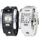 [EYE DC] JAGA 捷卡 AQ81 指針錶 方型 漸層錶面 冷光 鉚釘 雙層橡膠錶帶 34mm