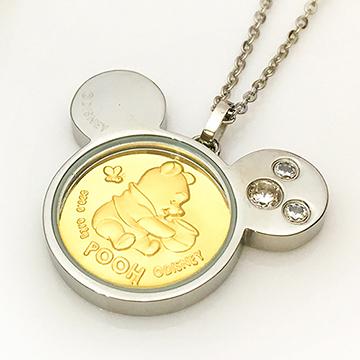 迪士尼系列金飾-黃金金幣項鍊-維尼-C