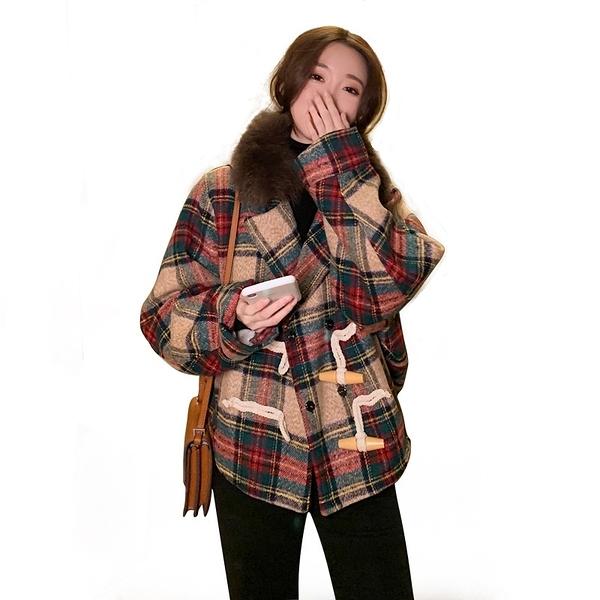 毛呢外套-短款狐狸毛領格子寬鬆女大衣73zq11【巴黎精品】