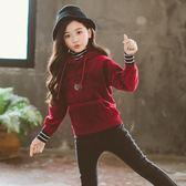 連帽T恤-女童連帽衛衣新款韓版春秋中大兒童裝秋冬裝寬松洋氣女孩上衣 草莓妞妞