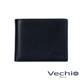 【VECHIO】紳士商務款II-經典素面皮革9卡中間翻皮夾(午夜藍)VE038W02BL