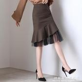魚尾裙半身裙春高腰顯瘦不規則中長款格子一步包臀拼接雪紡短裙夏
