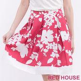 RED HOUSE-蕾赫斯-滿版花朵打褶裙(紅色)