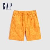 Gap男童 工裝風繫帶透氣短褲 702071-橘黃色