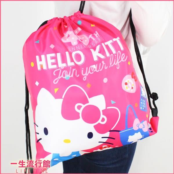 《新品》Hello Kitty 凱蒂貓 正版 兒童 卡通 後背束口包 束口袋 旅行後背包 B15131