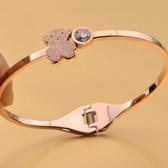 玫瑰金 鑲鑽純銀手環-可愛磨砂小熊流行生日情人節禮物女飾品71ap79【巴黎精品】