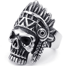 《 QBOX 》FASHION 飾品【R10023529】精緻龐克風印地安骷髏頭鑄造鈦鋼戒指/戒環