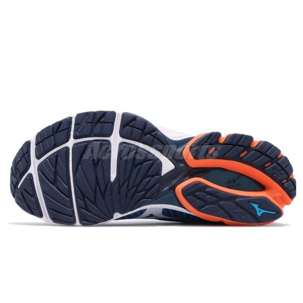 Mizuno 慢跑鞋 WaveKnit R2 藍 橘 白 針織鞋面 運動鞋 男鞋【PUMP306】 J1GC1829-07
