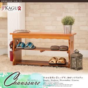 JP Kagu嚴選 日式簡約DIY實木穿鞋架/穿鞋椅(二色)褐色