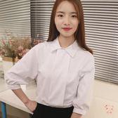 短袖襯衫寬鬆工作服襯衫2018新品職業短袖正裝夏季白色女襯衣中袖上衣韓版(萬聖節)