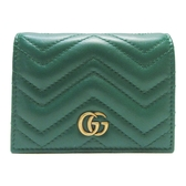 GUCCI 古馳 GG Marmont系列綠色牛皮短夾 Card Case Wallet 466492【BRAND OFF】