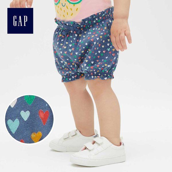 Gap女嬰兒 布萊納小熊刺繡波點鬆緊腰燈籠短褲 441316-深煙灰色