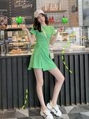 短袖洋裝減齡運動風抽繩綠色短袖T恤連身裙夏季新款修身少女不規則裙 果果生活館