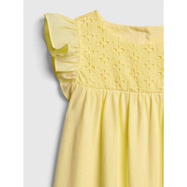 Gap女嬰幼童 時尚小飛袖洋裝 461701-奶酪黃色