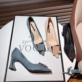 高跟鞋時尚方扣磨砂絨面性感尖頭粗跟女鞋子【邻家小鎮】