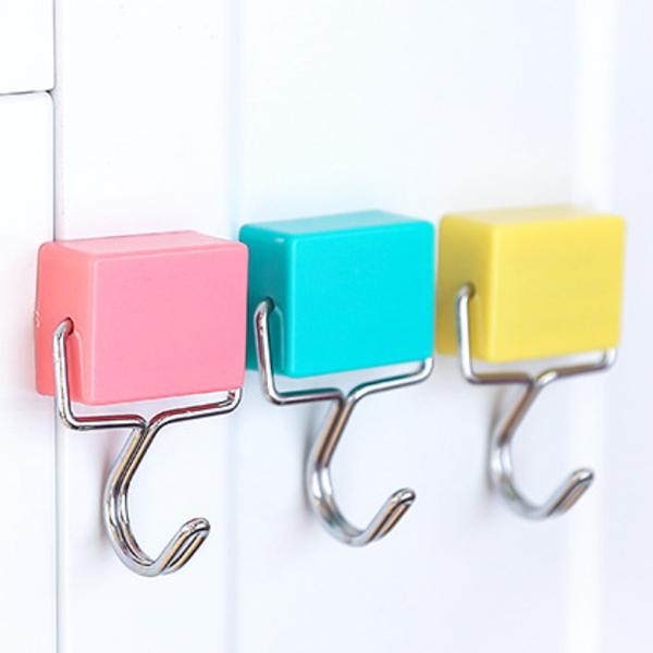 掛勾 磁鐵掛勾 無痕掛勾 方塊磁鐵 磁吸掛勾 冰箱磁鐵 磁性掛勾 磁掛勾 冰箱貼 收納 馬卡龍色