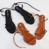 韓版 初夏新款 波西米亞 平底羅馬波浪交叉綁帶涼鞋 大碼鞋沙灘鞋 中秋節下殺