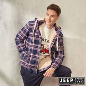 【JEEP】格紋刷毛襯衫式長袖外套(紅藍)