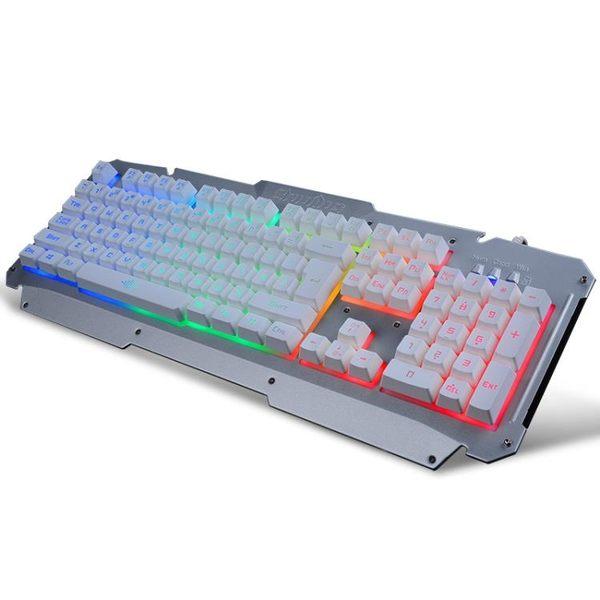 鍵盤七彩背光游戲金屬usb有線鍵盤