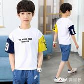 男童套裝 中大尺碼新款夏季洋氣衣服兒童短袖兩件套牛仔T恤韓版潮衣 DR17321【男人與流行】