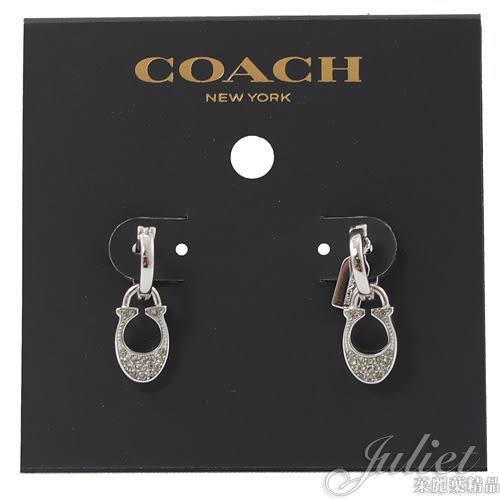 茱麗葉精品【全新現貨】 COACH 29820 新款 經典C LOGO鑲鑽耳環.銀