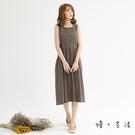 蕾絲風棉麻連身裙(灰/卡)-F【慢。生活】