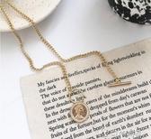 歐美風設計感女王硬幣吊墜項鍊女韓國個性時髦金酷鎖骨 ciyo 黛雅