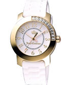 Juicy Couture 晶鑽色彩美人腕錶-白/金 J1900731