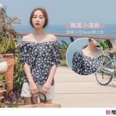《AB12538》韓風清新花朵印圖愛心領/一字領高含棉拋袖上衣 OrangeBear