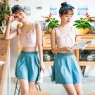 新款分體游泳衣女兩件套韓國范兒網紅溫泉泳裝露肚學生小清新