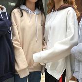 現貨-T恤-閨蜜款配色連帽加絨上衣 Kiwi Shop奇異果1102【SZZ8262】