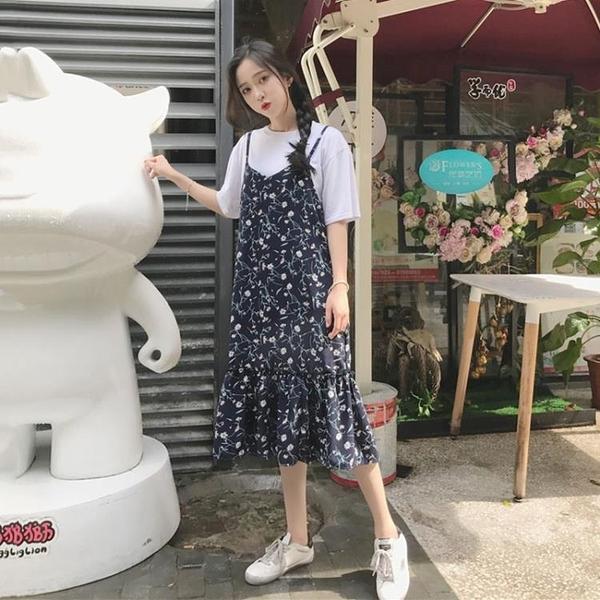 碎花洋裝 吊帶連身裙女2020夏季小碎花荷葉邊雪紡中長款長裙
