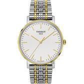 TISSOT 天梭 Everytime 經典雋永手錶-銀x雙色版/38mm T1094102203100
