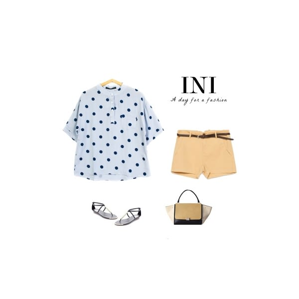 【INI】舒適穿搭、點點印花清爽棉上衣.水藍色
