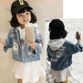 女童外套牛仔衣秋季新款童裝寶寶印花休閒上衣兒童時尚潮5074 蘿莉小腳ㄚ