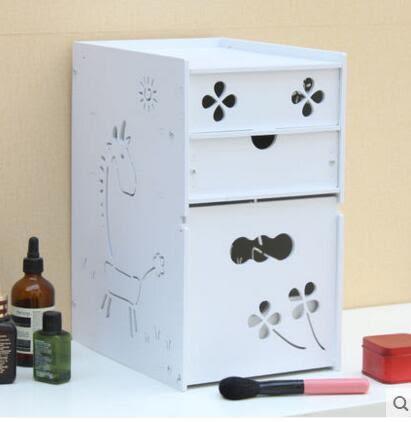 藍格子 桌面化妝品收納盒有蓋防塵護膚品置物架大號加高有抽屜