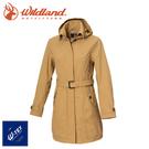【Wildland 荒野 女 長版防水防風時尚外套《黃卡其》】0A72909/風雨衣/防水外套/大衣