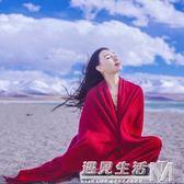旅游保暖紅披肩 中國紅圍脖民族風超大圍巾 西藏內蒙青海旅游圍巾  遇見生活