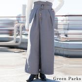 ❖ Hot item ❖ 不對稱鈕扣高腰造造型繫帶寬褲 - Green Parks