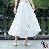 裝中國風繡花百搭紗裙白色雙層雪紡半身裙女【萬聖節推薦】