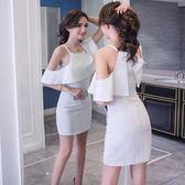 裙子時尚掛脖露肩氣質顯瘦性感包臀連身裙【多多鞋包店】w247