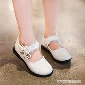女童皮鞋白色公主鞋2019秋季新款小女孩單鞋軟底防滑演出舞蹈瓢鞋