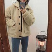 秋冬韓版寬鬆加厚加棉羊羔毛外套女裝復古單排扣短款上衣 萬客居