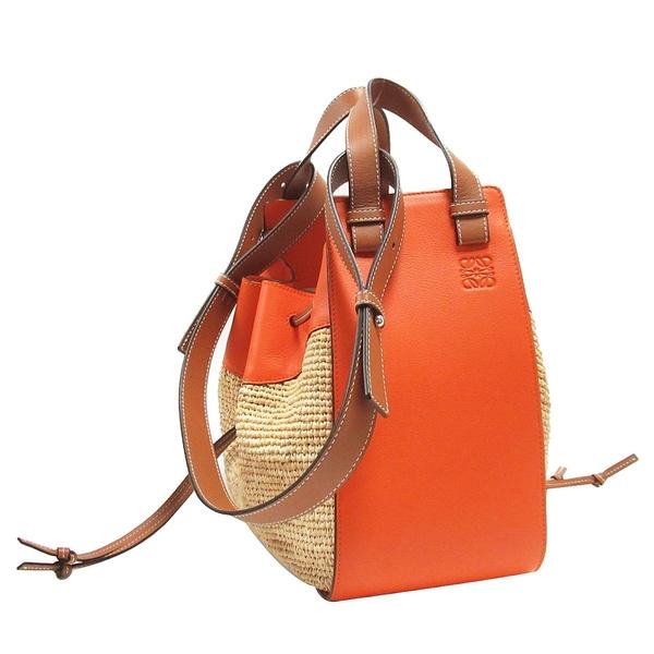 LOEWE 羅威 橘色牛皮x酒椰葉纖維編織手提肩背包 吊床包 Paula's Hammock