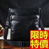 肩背包-可側背真皮手工男編織包55t66【巴黎精品】