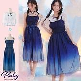 洋裝 吊帶漸層星空兩件式綁帶短袖長洋裝-Ruby s 露比午茶