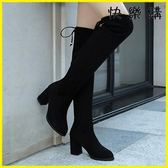 膝上靴-過膝靴長筒靴彈力過膝長靴粗跟瘦腿顯瘦高筒靴