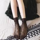 促銷 襪子女堆堆襪夏季薄款超薄透氣鏤空黑色蕾絲中筒襪網紗襪夏天韓國